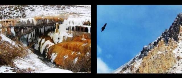 A ponte que já foi trilha e o Condor sobrevoando as montanhas