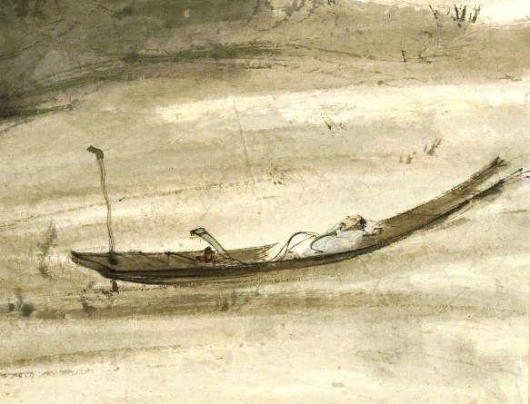 Detalhe de obra em exposição na biblioteca.