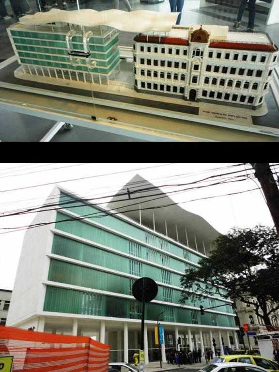 A maquete com os dois prédios e detalhe do MAR