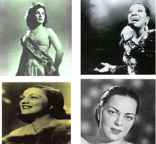 Emilinha Borba, Elizeth Cardoso e, abaixo,as irmãs Dircinha e Linda Batista
