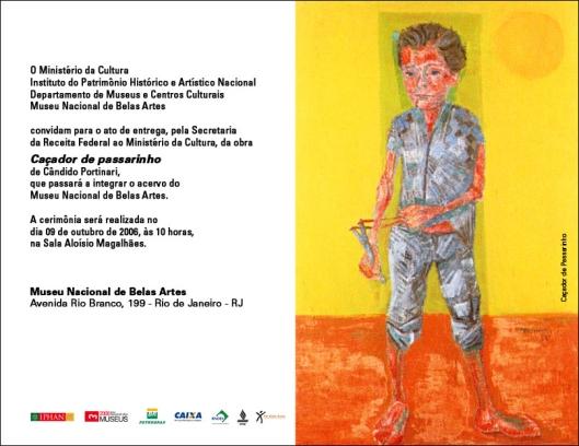 Convite, por ocasião da entrega do quadro de Portinari ao MNBA